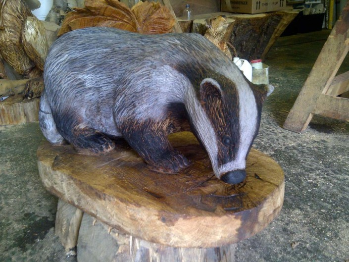 Chainsaw Carving Galleries | Badger Sculpture finished in oil and painted