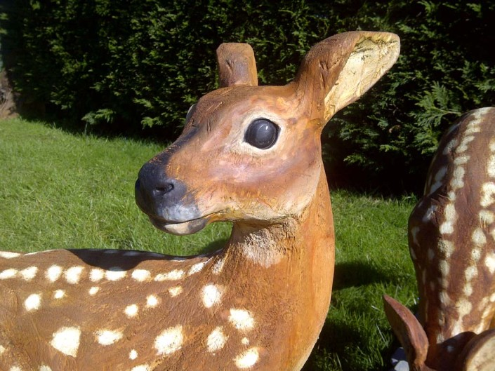 Chainsaw Sculpture Galleries | Young deer chainsaw carved and painted
