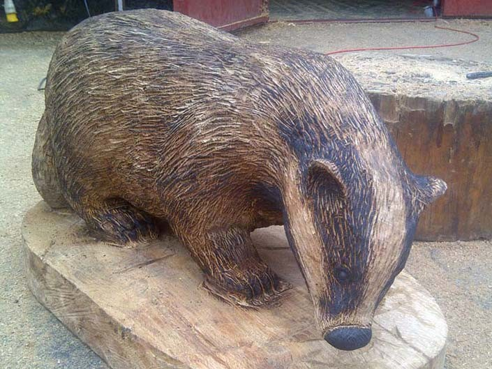 Chainsaw Carving Gallery | Badger Sculpture